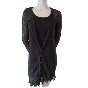 Free People Black Linen Blend Cardigan Size Small